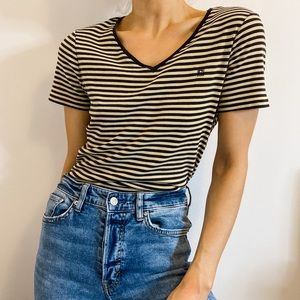 Chaps Brown & Tan Striped V Neck Casual Tee | L